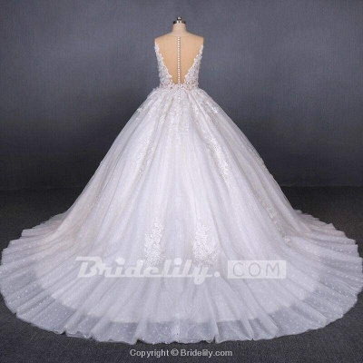 Chicloth Ball Gown Sheer Neck Sleeveless White Lace Appliqued Wedding Dress_2