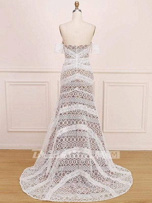 Chicloth Amazing Sweetheart Neck Lace Beach Boho Wedding Dress_8