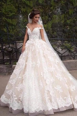 Chicloth Gorgeous Sheer Neck Cap Sleeves Lace Appliques A Line Wedding Dress_1