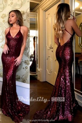 Chicloth Sparkling Burgundy Sequins Mermaid V-neck Sweep Train Party Dress Prom Gown_2