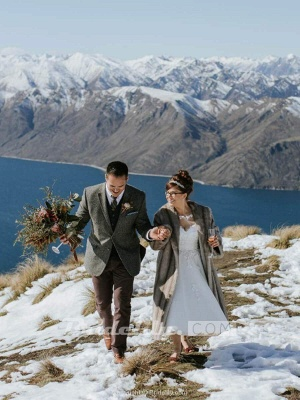 Chicloth Illusion Lace Short Wedding Dresses Tea Length Wedding Dresses_2