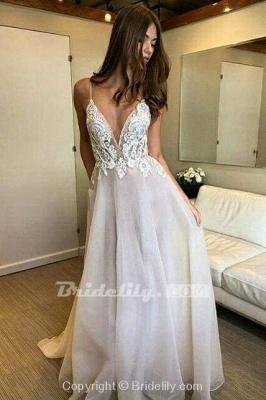 Chicloth Deep V-neck Spaghetti Straps Lace Appliqued Beach Wedding Dress_3