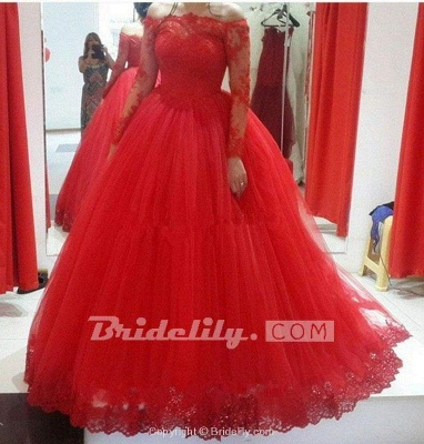 Chicloth Red Long Sleeve Off-the-shoulder Lace Wedding Dress Ball Gown Quinceanera Dresses_2