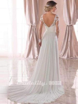 Chicloth Modest V-Neck Long Sleeves A-Line Ruffles Wedding Dresses_4