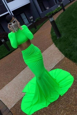Chicloth Chic Glorious Two Piece Prom Long Sleeves Floor Length Evening Dress_1