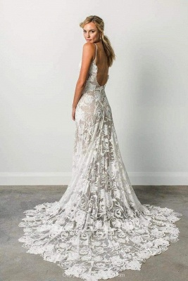Chicloth Spaghetti Straps Backless Lace Boho Wedding Dress_2