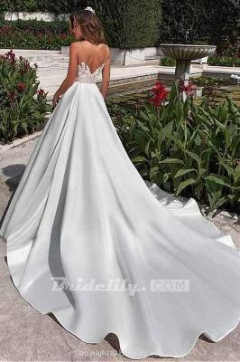 Chicloth Lace Appliques Pockets A-line Satin Wedding Dress_2