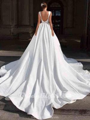 Chicloth Gorgeous V-Neck Sweep Train Ruffles Wedding Dresses_2