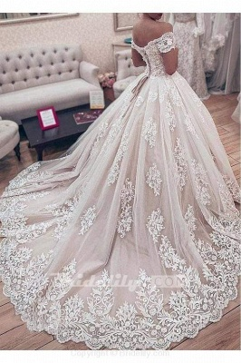 Chicloth Ball Gown Off the Shoulder with Lace Appliques Gorgeous Wedding Dress_2