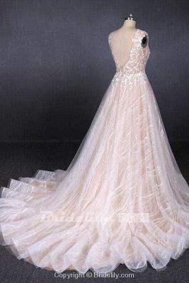 Chicloth Puffy Sleeveless Lace Elegant A Line Backless Wedding Dress_4