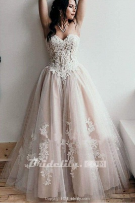 Chicloth Floor Length Sweetheart Tulle Wedding with Lace Appliques Long Dress_5