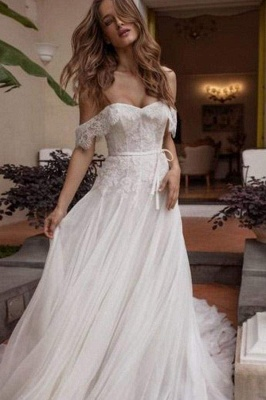Chicloth A-line Off Shoulder Beach Lace Boho Wedding Dress_1