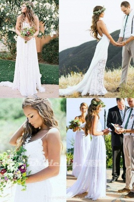Chicloth Casual Boho Spaghetti Straps Lace Beach Wedding Dress_4