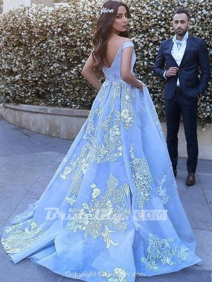 Chicloth Applique Brush Train Blue Ball Gown Prom Dresses_2