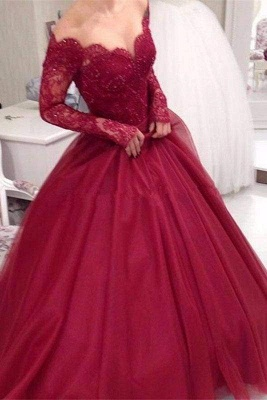 Chicloth Burgundy Off the Shoulder Sleeve Applique Tulle Evening Long Prom Dress_1