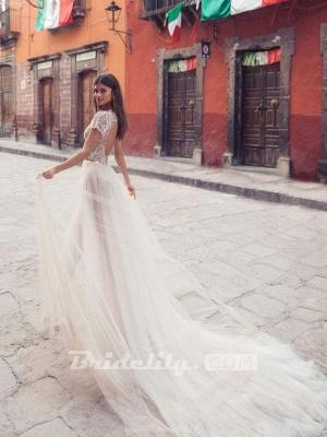 Chicloth V Neck Backless Lace Tull Boho Wedding Dresses_2