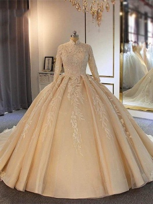 Chicloth Exquisite High Collar Long Sleeve Lace-Up Ball Gown Wedding Dresses_1
