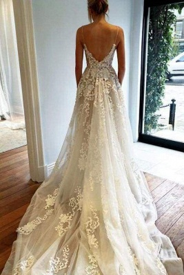 Chicloth Stunning Appliques Lace Spaghetti Straps Wedding Dress_1