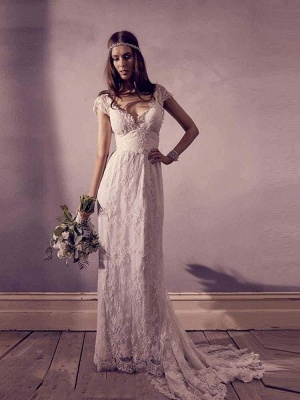 Chicloth Gorgeous V-Neck Cap Sleeves Lace A-Line Wedding Dresses_1