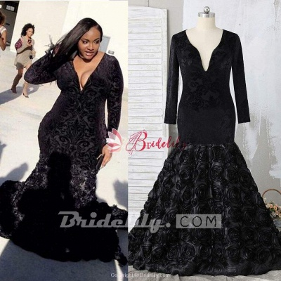 Chicloth Plus Size Prom Dresses Mermaid Black Lace Plunging V Neck Long Sleeve Evening Gowns With 3D Flowers_3