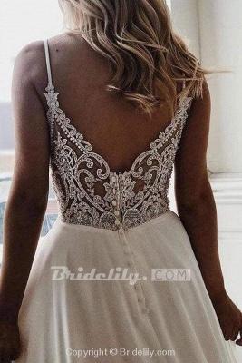 Chicloth Simple Spaghetti Strap Chiffon Beach Wedding Dress_2