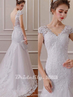 Chicloth Affordable V-Neck Short Sleeves Lace Mermaid Wedding Dresses_4