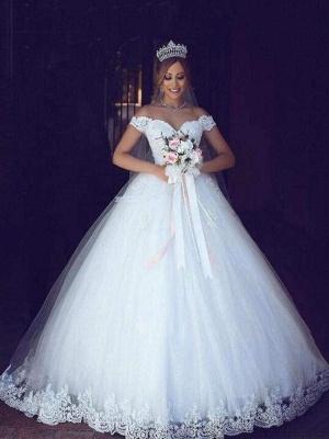 Chicloth Elegant Portrait Sleeveless Ball Gown Wedding Dresses_1
