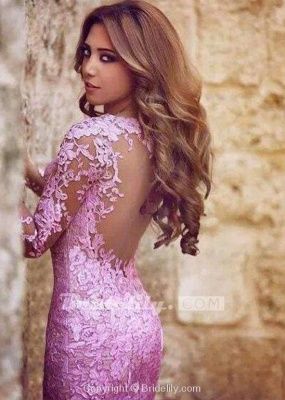 Chicloth Excellent Glorious Precious Sexy Mermaid Long Sleeves Tulle Appliques Dresses Backless Prom Dress_3