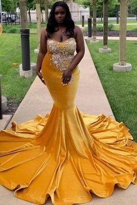 Chicloth Yellow Sleeveless Sweetheart Mermaid Prom Dresses with Train_1