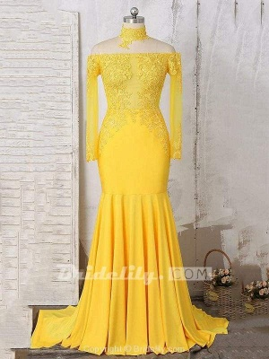 Chicloth Gorgeous Yellow Long Sleeves Off-shoulder Floor Length Appliqued Prom Dresses_2