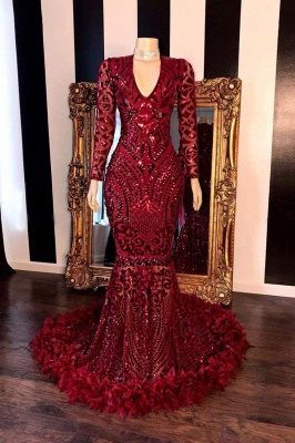 Chicloth Amazing Sequins V-neck Long Sleeve Mermaid Prom Dresses_1