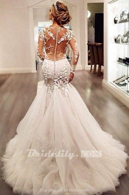 Chicloth Gorgeous Long Sleeves Mermaid V-neck Gown Ivory Wedding Dress_3