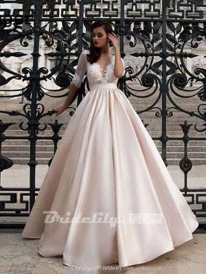 Chicloth Vintage Half Sleeves Lace Satin Wedding Dresses_2
