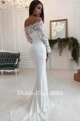 Chicloth Mermaid Long Sleeves Off the Shoulder Wedding Dress_3