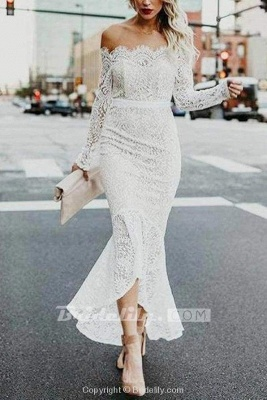 Chicloth High Low Long Sleeves Mermaid Off the Shoulder Lace Wedding Dress_2
