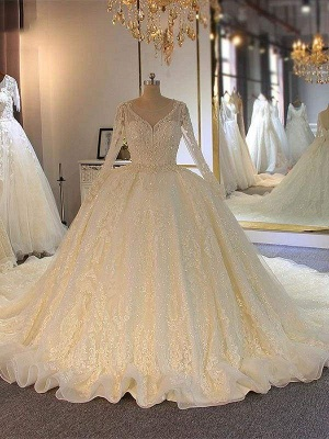 Chicloth Shinny Long Sleeves Lace-Up Wedding Dresses with Full Beading Shinny_1