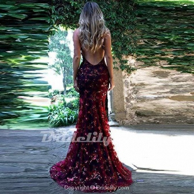 Chicloth Spaghetti Straps V-neck Mermaid Sparkly Tulle Evening Dress Long Prom Gowns_10