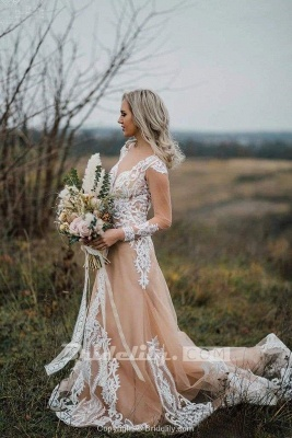 Chicloth Amazing Long Sleeves Boho Lace Appliques Wedding Dress_3