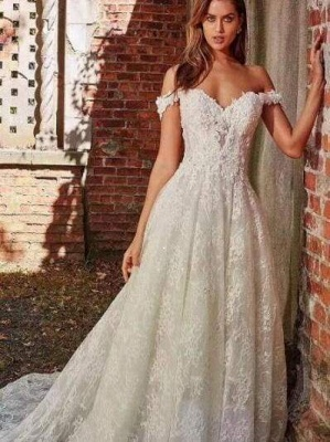 Chicloth off-the-Shoulder Full Lace Wedding Dresses A-Line Lace Appliques with Court Train_1