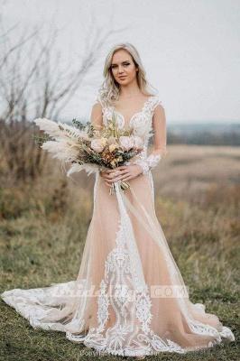 Chicloth Amazing Long Sleeves Boho Lace Appliques Wedding Dress_4
