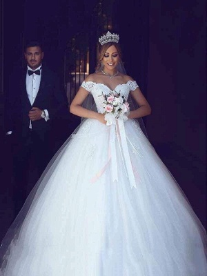 Chicloth Amazing Off-the- Shoulder Lace Ball Gown Tulle Wedding Dresses_1