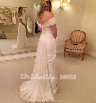 Chicloth A-Line Off-the-Shoulder Long Chiffon Beach Wedding Dress_2