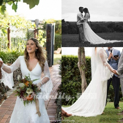 Chicloth Boho V Neck Beach with Long Sleeves Unique Lace Wedding Dress_4