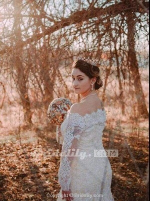 Chicloth Long Sleeves Detachable Train Appliques Mermaid Wedding Dresses_2