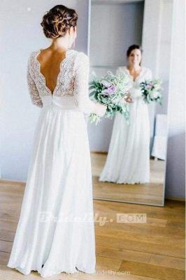 Chicloth Floor Length Chiffon Beach Lace Backless Wedding Dress_4