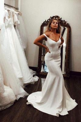 Chicloth Simple Off the Shoulder Beach Elegant Long Wedding Dress_1