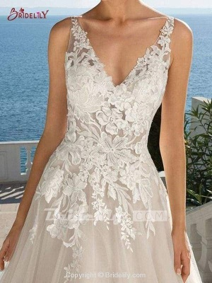 Chicloth Lace Appliques Open Back A-Line Wedding Dresses_3
