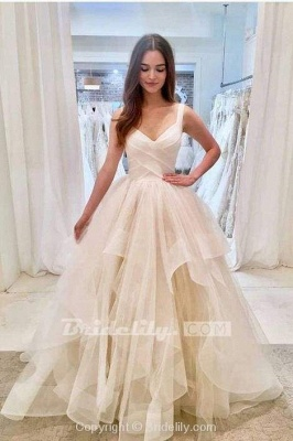 Chicloth Puffy Straps Long Beach Unique Cascading Ruffles Wedding Dress_3