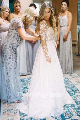 Chicloth Chic A-line Long Sleeve Lace Backless Country Wedding Dress_3