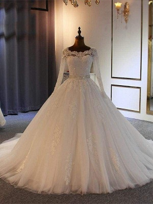 Chicloth Exquisite Bowknot Ball Gown Wedding Dresses with Long Sleeves_1